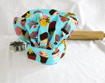 Retro Teal Cupcake Child Chef Hat - Adjustable