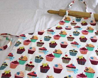 Retro White Cupcake Adult Apron