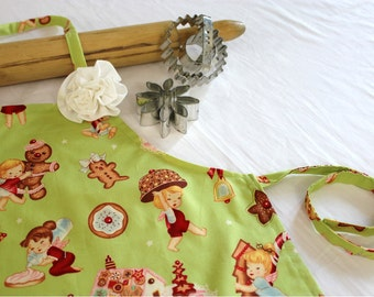Vintage Cookies Child Apron with Rose Pin