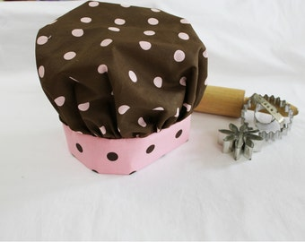 Brown N Pink Dot Child Chef Hat - Adjustable