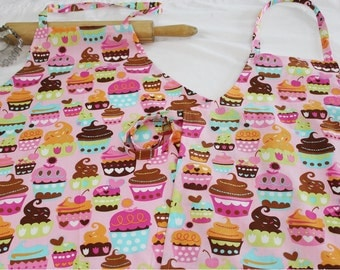 Pink Sweet Cupcakes Mother Daughter Aprons