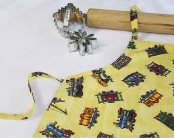 Trains Child Apron - yellow