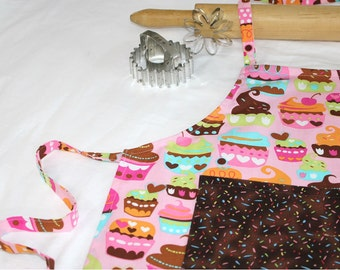Sweet Cupcakes Child Apron - pink with sprinkles pocket