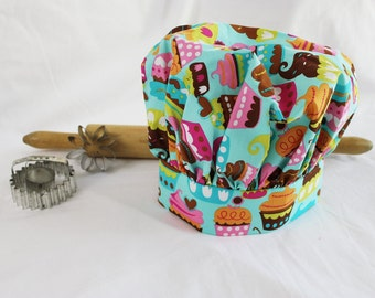 Sweet Cupcakes Teal Child Chef Hat - Adjustable