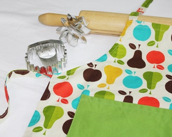 Healthy Cooking Child Apron with green pocket