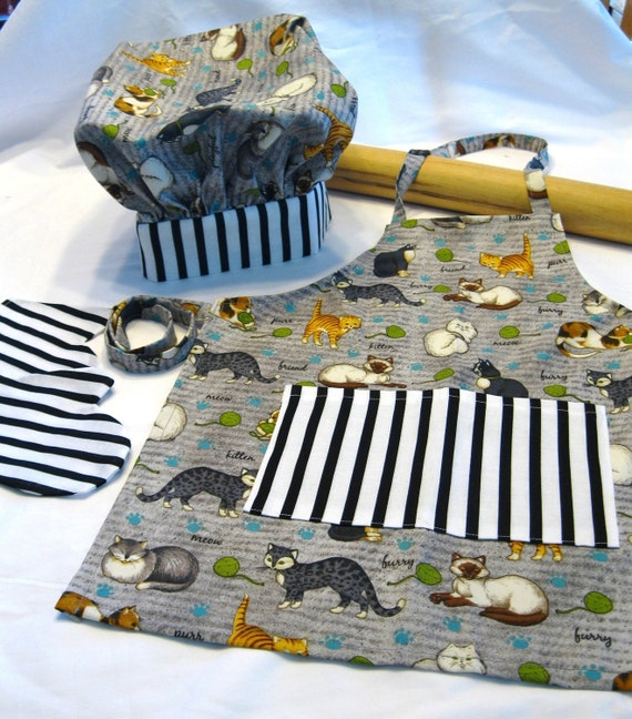 Cat Lovers Child Apron and Adjustable Chef Hat set