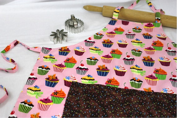 Retro Pink Cupcake Adult Apron with sprinkles pocket