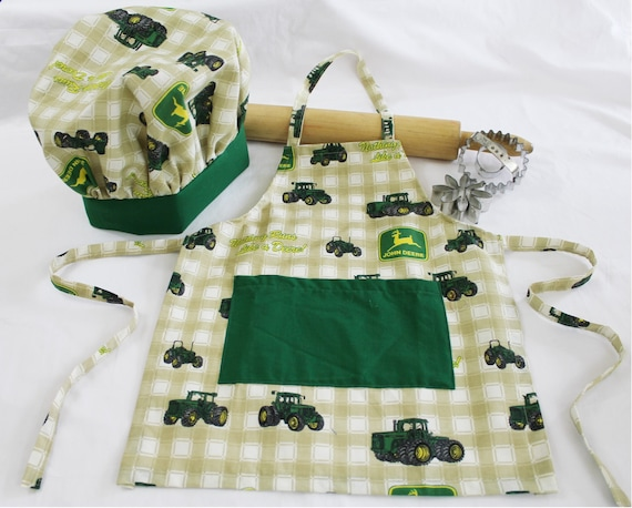 John Deere Green Child Apron and Adjustable Chef Hat