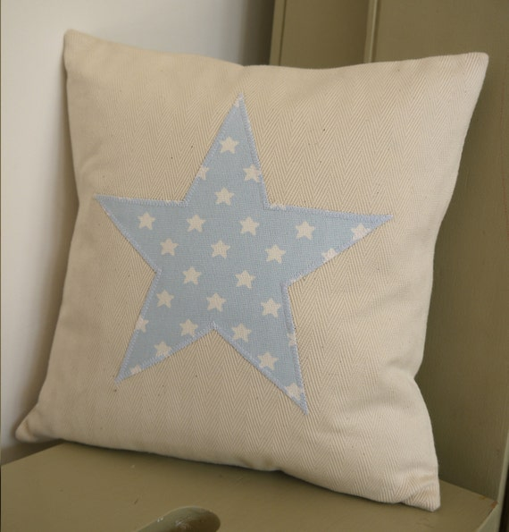 blue and white starry star cushion...