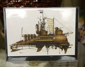 """Greeting Card 5""""x7"""" 12 of 12 Fanciful Submarine, Blank Inside, Envelope with Plastic Sleeve"""