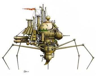"""8 of 12 Fanciful Submarine Giclee Print on Fine Art Smooth Paper (16""""x12"""")"""