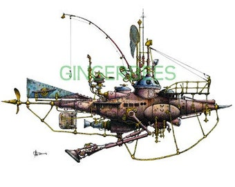 """5 of 12 Fanciful Submarines, Giclee Print on Fine Art Smooth Paper(16""""x12"""")"""