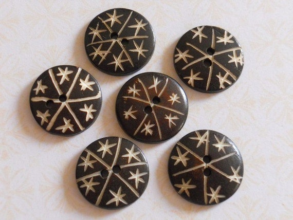 Set of vintage carved wood buttons