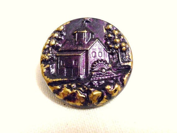 Antique Metal Button With Old Grist Mill With  Purple Tint
