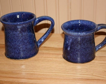 Blue pottery mug set, large mugs, great for tea, coffee, hot chocolate