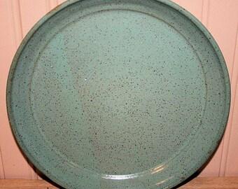 Green pottery serving plate, pottery platter, serving dish, entertaining
