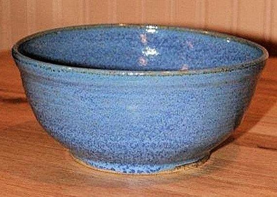Blue pottery serving bowl, entertaining, popcorn bowl, salad bowl, vegetable bowl