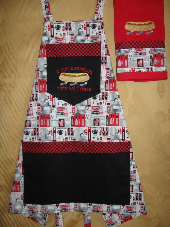 Machine embroidered reversible apron with matching towel