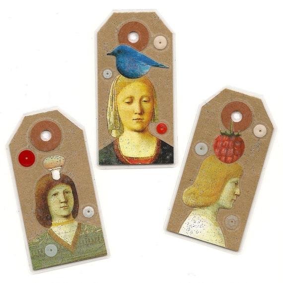 Charm Trio - miniature art book tags
