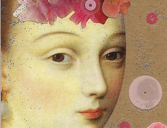 Madame de Pompadour - handmade art tag bookmark