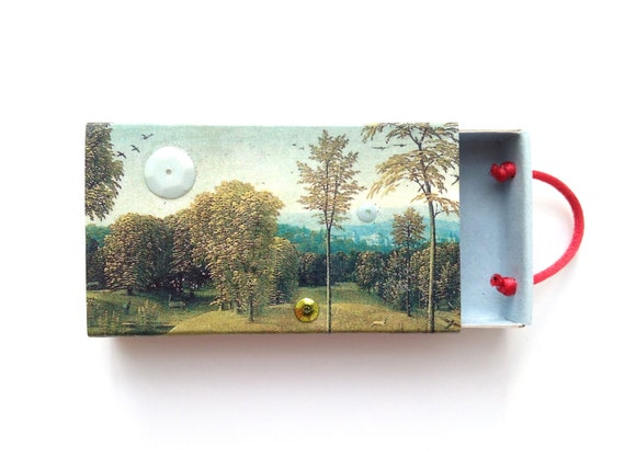 matchbox art - Trevelyan - landscape collage - altered matchbox