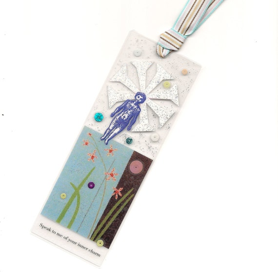 original collage bookmark - Speak to me of your inner Charm