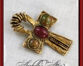 Egyptian Ankh Pin by Designer Robert Rose . Eternal Life . Vintage Collectible . Goldtone Metal