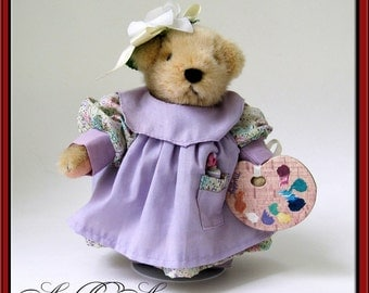 Muffy VanderBear Collectible Teddy Clawed Monet / Gilbearny Collection North American Bear Company / Lavender Purple / Artist Bear