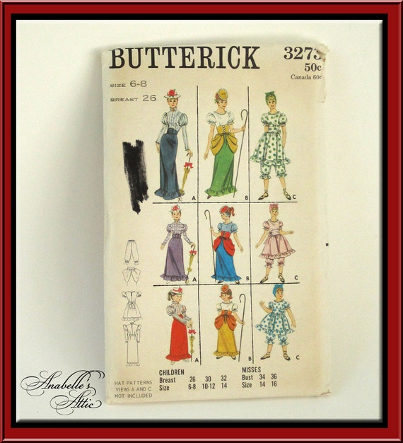 Vintage 1960s Butterick Costume Pattern Mary Poppins Old