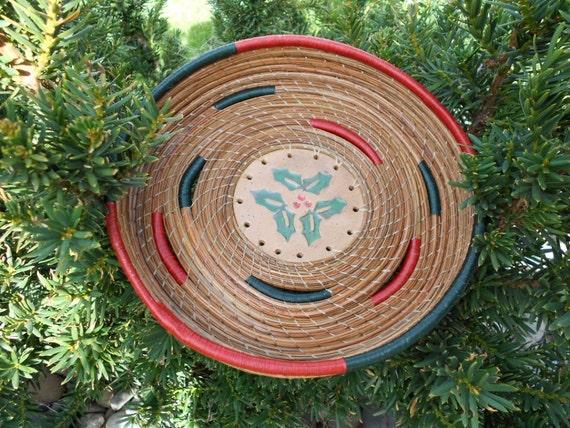 Christmas Holly pine needle basket