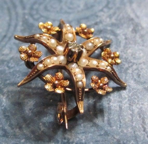 Victorian Pin Star Brooch 14 Karat Gold Seed Pearls Diamond