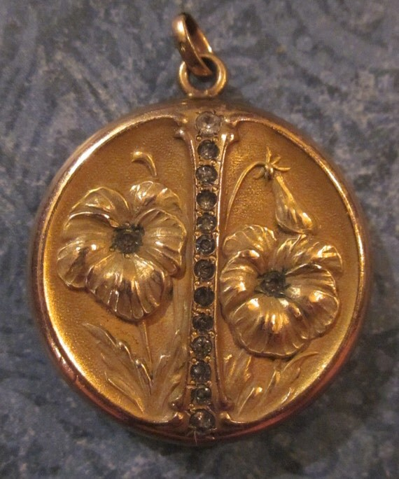Antique Art Nouveau Locket Gold Filled Flowers and Rhinestones Picture Locket by W. & S. Blackinton Co