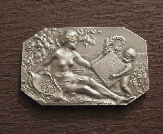 Art Nouveau Shooting Medal Antique French Sterling Silver Lady And Child 1903  SS437