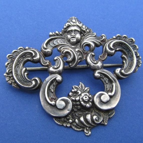 Reserved Art Nouveau Brooch Sterling Silver Ornate Nature Boy