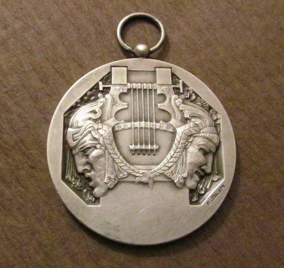 Art Deco Pendant Music French Art Medal Signed Blin  SS62
