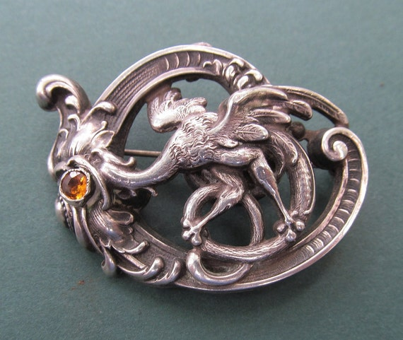 Art Nouveau Griffin Brooch Antique Sterling Silver Pin Citrine Stone