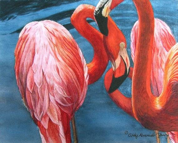 The Three Graces, Sarasota: Flamingo giclee print by Cindy Alvarado