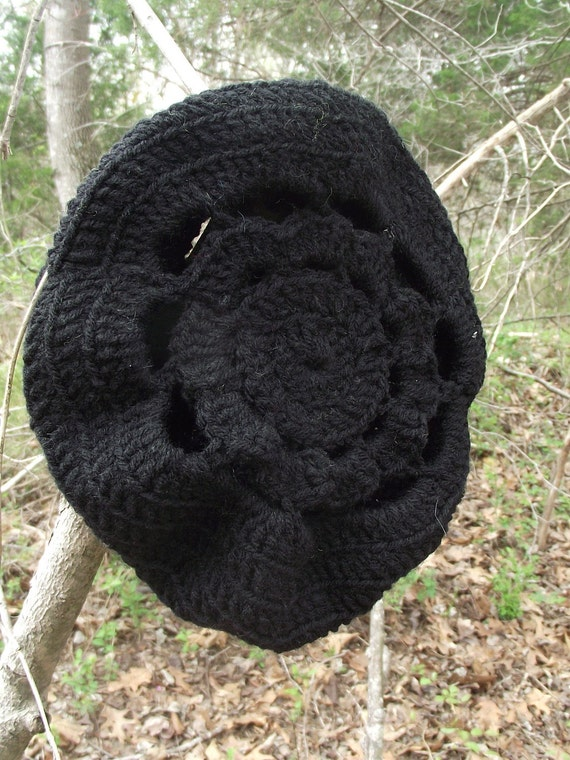With a Flower in Her Hair-Flower Slouch Crochet Hat