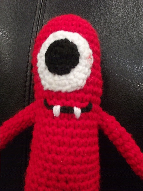 Crochet Cyclops- Red Monster Toy