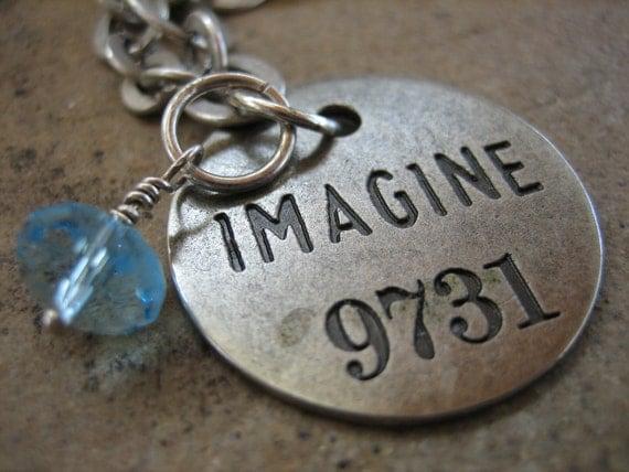 OLD HOTEL key tag  IMAGINE pendent matt silver aqua crystal dangle free shipping