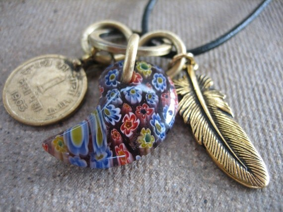 Charm NECKLACE colorful paisley glass, brass feather coin leather cord wear everyday free shipping