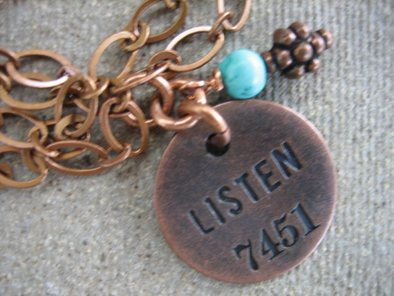LISTEN NECKLACE VINTAGE hotel key tag ooak copper pendent turquoise bead free shipping