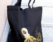 Tote Bag Black Cotton - Gold Octopus - Large Size