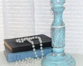 ON SALE  Vintage large  wooden  ornate distressed blue turquoise white candle holder shabby chic cottage chic