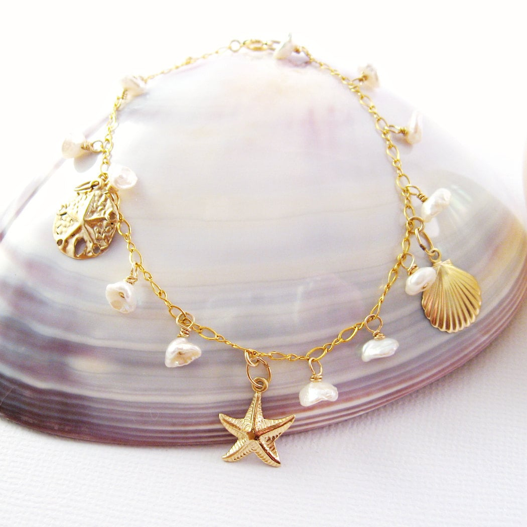 Ocean Charm Bracelet Gold Sea Life Charms Keishi Pearls