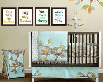 """Nursery Wall Art, You are my Sunshine print, 4  Piece Set Children's Prints 8x10"""", great for nursery, works for boys and girls"""