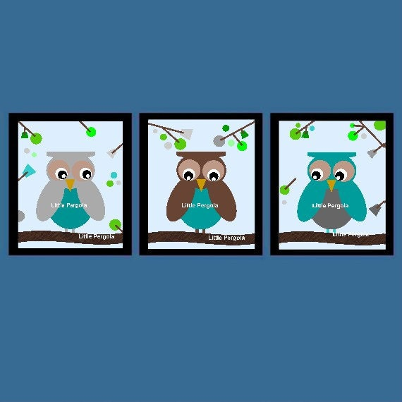 "Nursery Owl Decor // Kids Wall Art Owl // Owl Art for Toddler Room // Owl Art Prints // Owl Nursery Decor // 5x7"" Set of Three Prints"