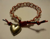 Beaded Wrap Bracelet: Single Beaded Macrame Wrap with Heart Charm Accent
