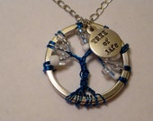 Tree of Life Necklace- Blue Tree with Charm Accent