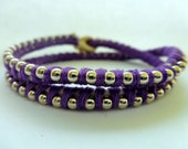 Ball Chain Double Wrap Bracelet: Purple Thread with Silver Ball Chain